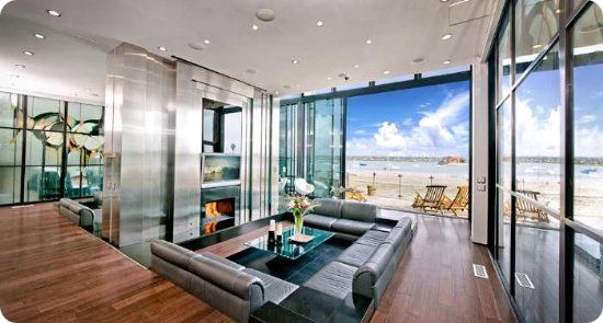 living room of sleek retreat luxury mission beach vacation rental